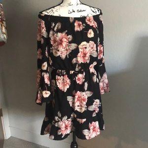 Off shoulder long sleeve black pink floral dress M
